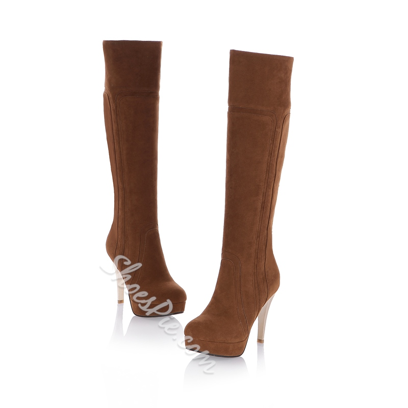 Shoespie Side Zipper Platform Stiletto Heel Knee High Boot