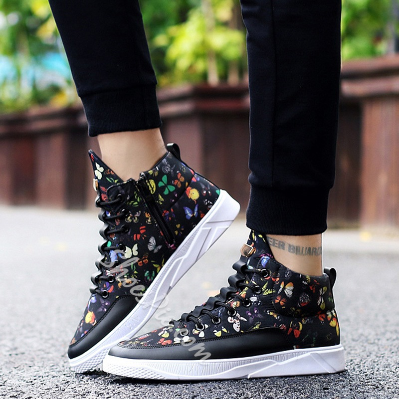 Shoespie Lace-Up Animal Pattern Sneaker