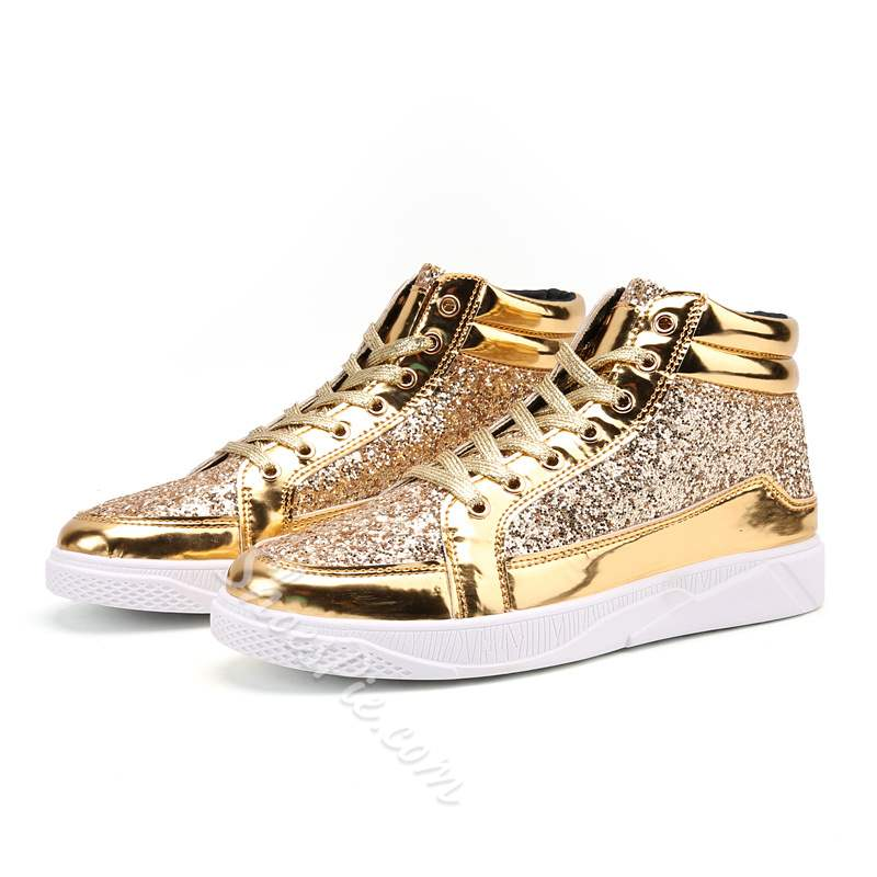 ShoespieCasual Lace-Up Sequin Sneaker