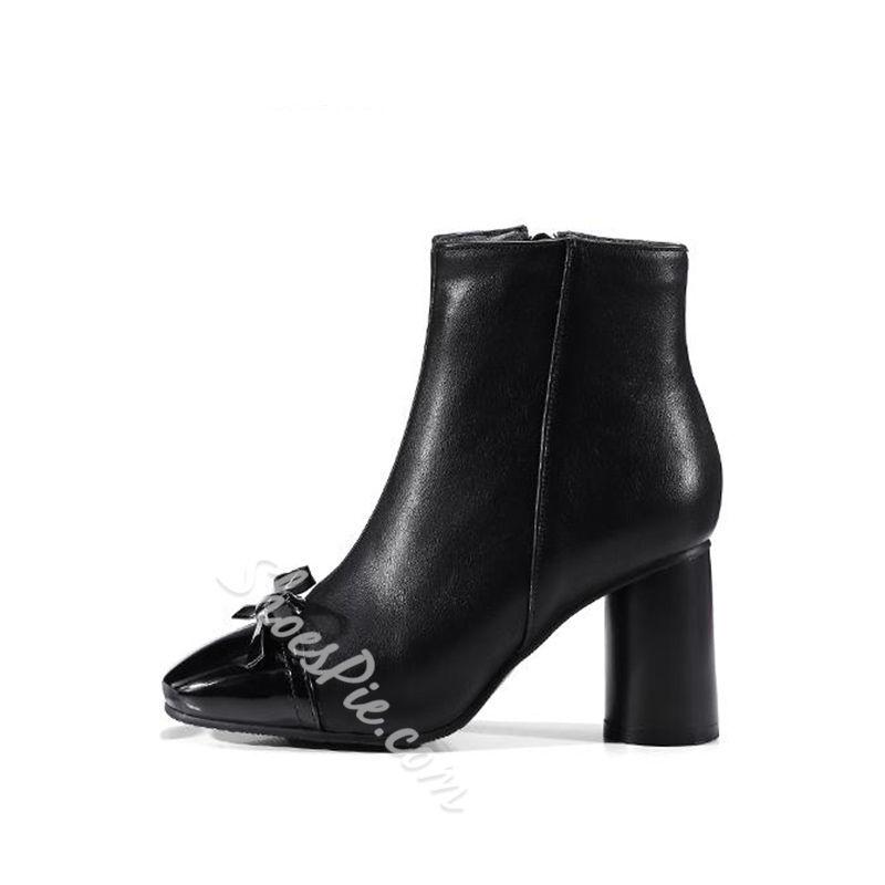 Shoespie Chunky Heel Side Zipper Square Toe Ankle Boot