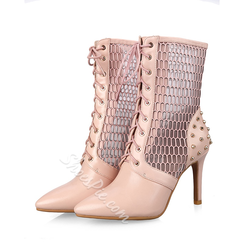 ShoespieCasual Lace-Up Front Stiletto Heel Rivet Ankle Boot