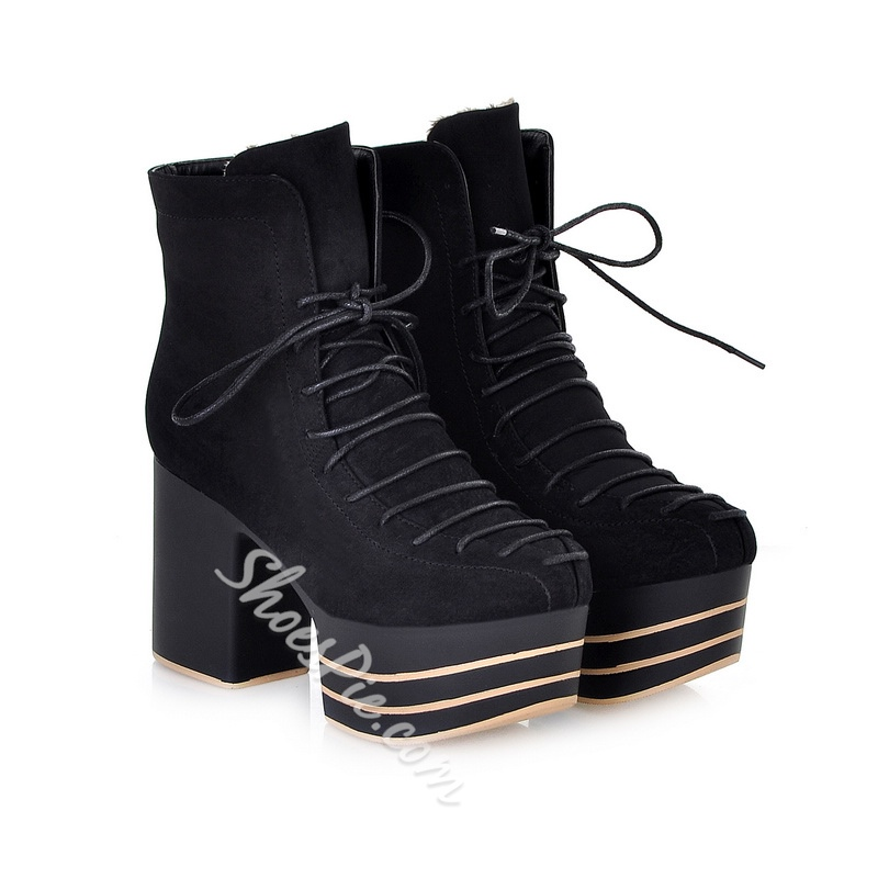 Shoespie Cross Strap Platform Chunky Heel Side Zipper Ankle Boot