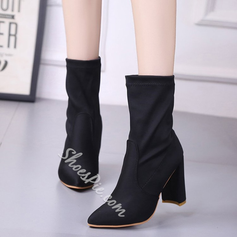 Shoespie Casual Pointed Toe Chunky Heel Slip-On Ankle Boot