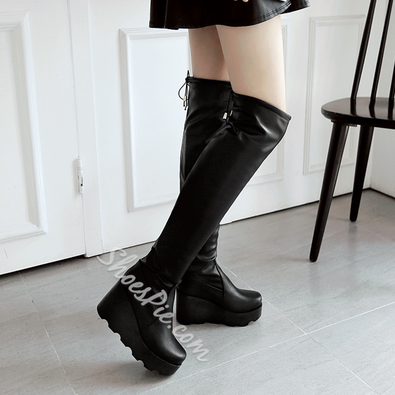 Shoespie Platform Wedge Heel Lace-Up Back Knee High Boot