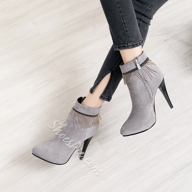 Shoespie Chain Fringe Side Zipper Ankle Boots