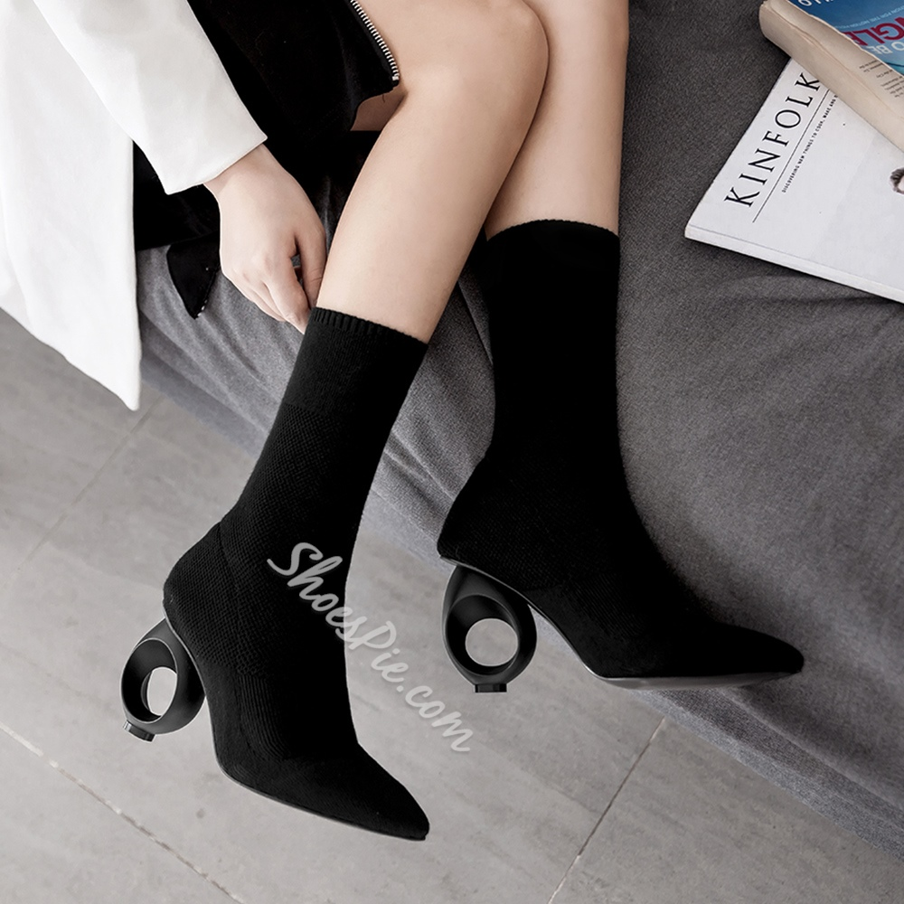 Shoespie Pointed Toe Shaped Heel Slip-On Ankle Boot