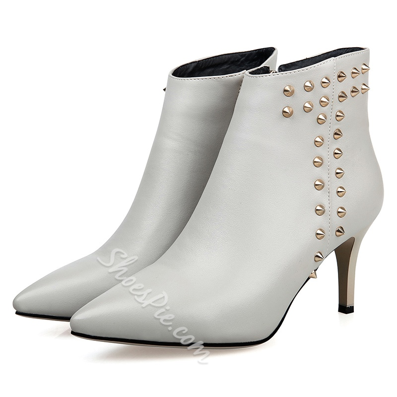 Shoespie Pointed Toe Rivet Stiletto Heel Side Zipper Ankle Boot