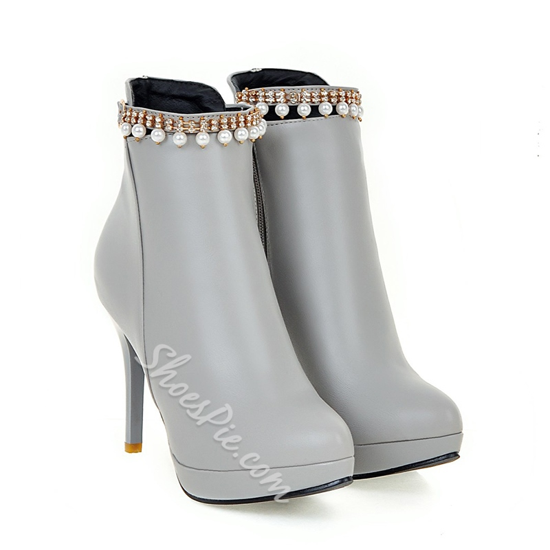 Shoespie Rhinestone Beads Chain Platform Purfle Stiletto Heel Ankle Boot