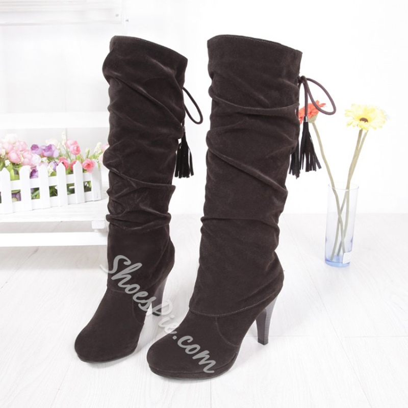 ShoespieLace-Up Back Chunky Heel Knee High Boot