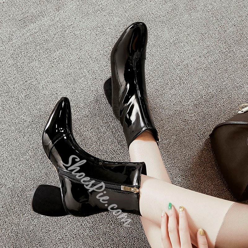 Shoespie Side Zipper Chunky Heel Fashion Ankle Boot