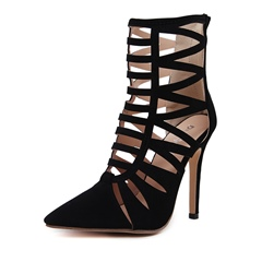 Shoespie Hollow Stiletto Heel Pointed Toe Back Zip Ankle Boot