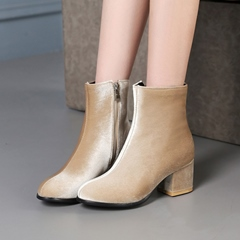 Shoespie Side Zipper Chunky Heel Ankle Boots