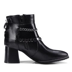 Shoespie Chain Sequin Lace-Up Chunky Heel Side Zipper