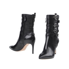 Shoespie Pointed Toe Side Zipper Stiletto Heel Buckle Ankle Boot