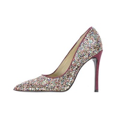 Shoespie Glitter Pointed Toe Sequin Slip-On Stiletto Heel