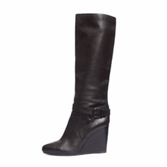 Shoespie Pointed Toe Buckle Side Zipper Wedge Heel Knee High Boot