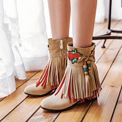 Shoespie Fringe Embroidery Lace-Up Hidden Elevator Heel Floral Ankle Boots