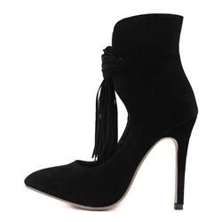Shoespie Pointed Toe Stiletto Heel Fringe Ankle Boot