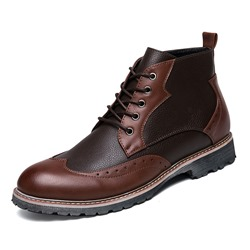 Shoespie Casual Lace-Up Color Block Front Men's Martin Boot