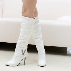 Shoespie Rhinestone Sequin Stiletto Heel Knee High Boot