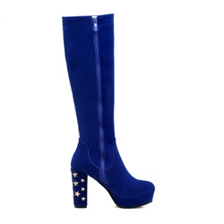 Shoespie Rivet Platform Side Zipper Chunky Heel Knee High Boot