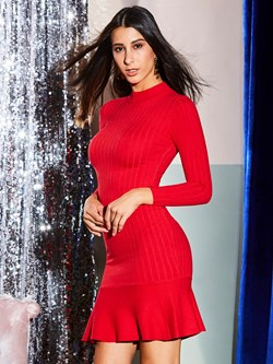 Shoespie Sexy Stand Collar Long Sleeve Bodycon Dresses