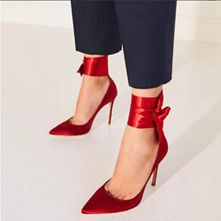 Shoespie Sexy Red Lace-Up Stiletto Heels
