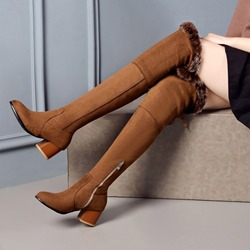 Lace-Up Chunky Heel Winter Thigh High Boots