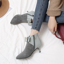 ShoespiePointed Toe Bowknot Fringe Side Zipper Ankle Boots