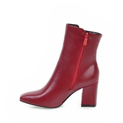 Shoespie Side Zipper Chunky Heel Square Toe Ankle Boots