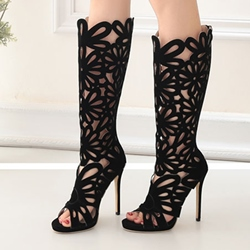 Shoespie Hollow Stiletto Heel Knee High Boots