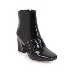 Shoespie Square Toe Chunky Heel Side Zipper Ankle Boot