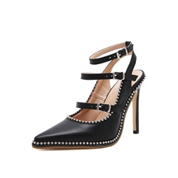 Shoespie Closed Toe Beads Purfle Strappy Stiletto Heel