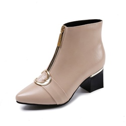 Shoespie Pointed Toe Chunky Heel Front Zipper Ankle Boot