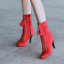 Shoespie Side Zipper Cross Strap Fringe Stiletto Heel Ankle Boot