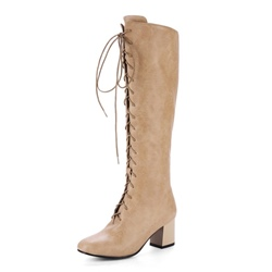 Shoespie Cross Strap Side Zipper Chunky Heel Knee High Boot