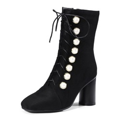 Shoespie Side Zipper Cross Strap Beads Lace-Up Chunky Heel Ankle Boot