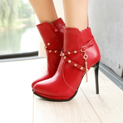 Shoespie Rhinestone High Heel Rivet Tassel Boots