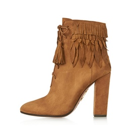 Shoespie Side Zipper Chunky Heel Cross Strap Fringe Ankle Boots
