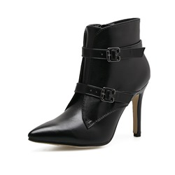 Shoespie Pointed Toe Buckle Side Zipper Stiletto Heel Ankle Boot