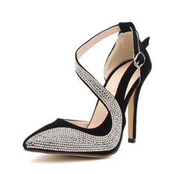 Shoespie Rhinestone Pointed Toe Buckle Stiletto Heel