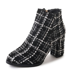 Shoespie Plaid Side Zipper Chunky Heel Ankle Boots