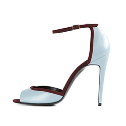ShoespiePeep Toe Color Block Line-Style Buckle Stiletto Heel