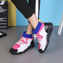 Shoespie Lace-Up Color Block Women's Sneakers