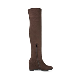 Shoespie Casual Side Zipper Hidden Elevator Heel Knee High Boot