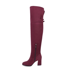 Shoespie Buckle Side Zipper Chunky Heel Knee High Boot