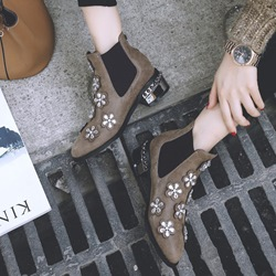Shoespie Appliques Rhinestone Rivet Elastic Block Heel Floral Ankle Boot