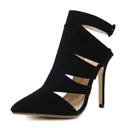 ShoespieHollow Buckle Stiletto Heel Ankle Boot