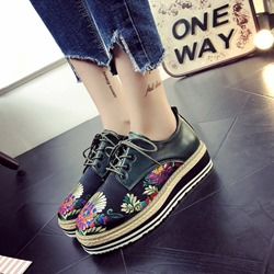 Shoespie Floral Embroidery,Platform Sneakers