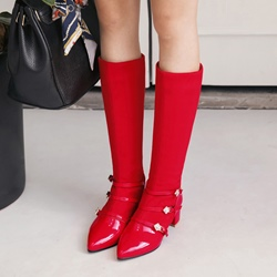 Shoespie Rhinestone Buckle Chunky Heel Knee High Boots
